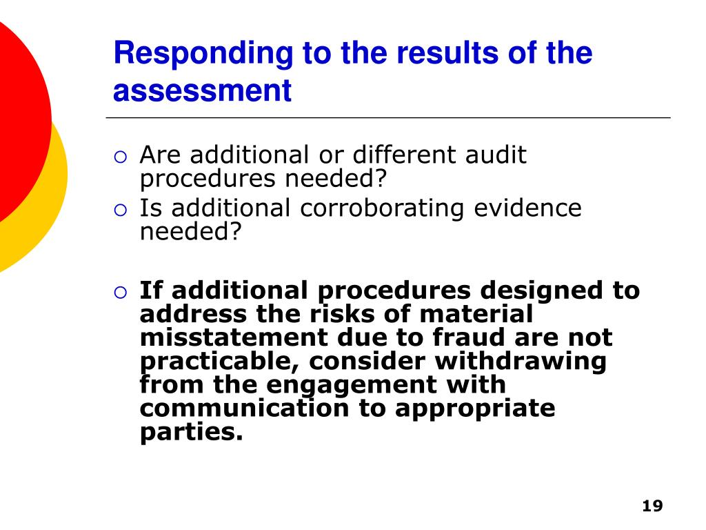 Responding to the results of the assessment