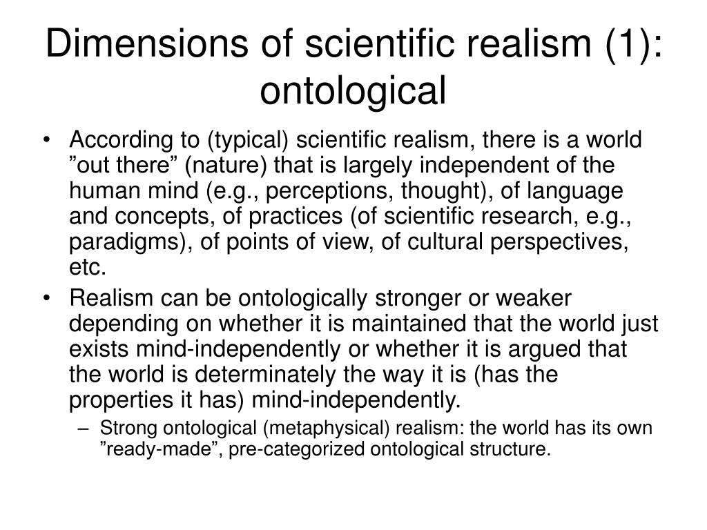 Dimensions of scientific realism (1): ontological