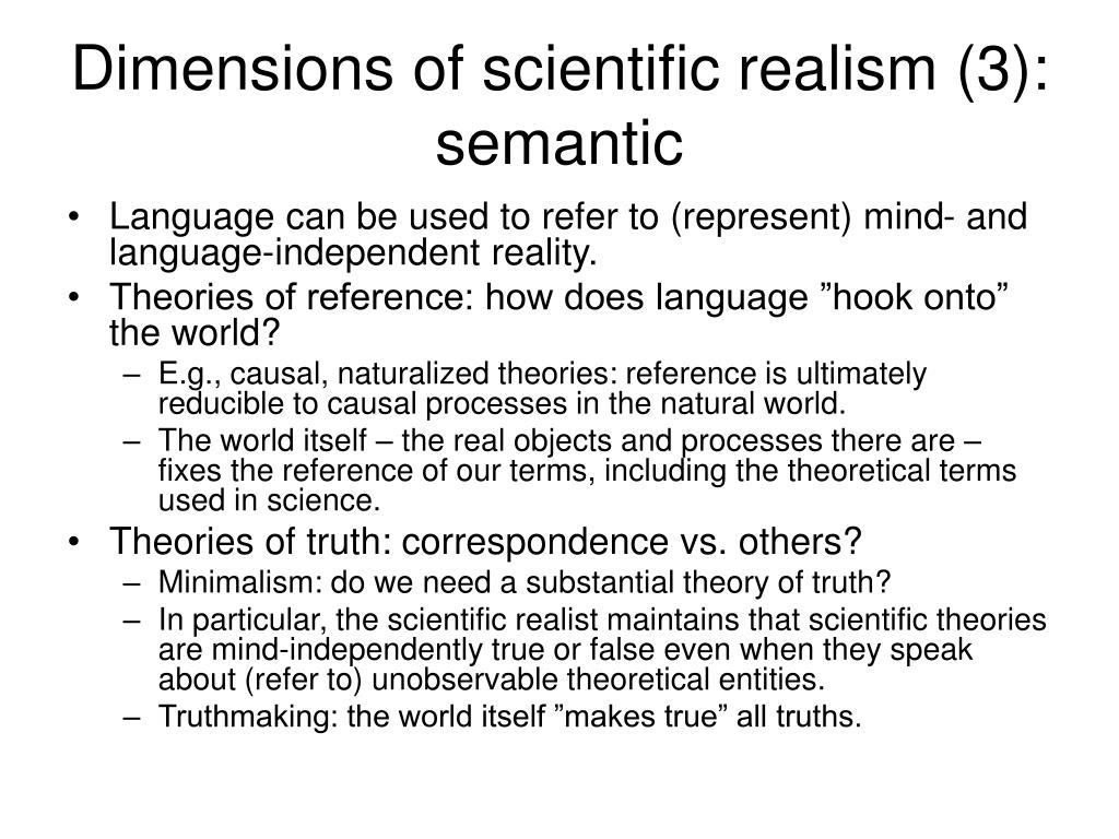 Dimensions of scientific realism (3): semantic