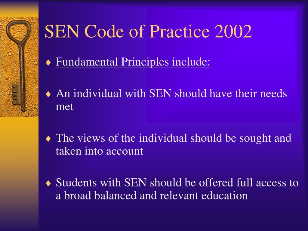 SEN Code of Practice 2002