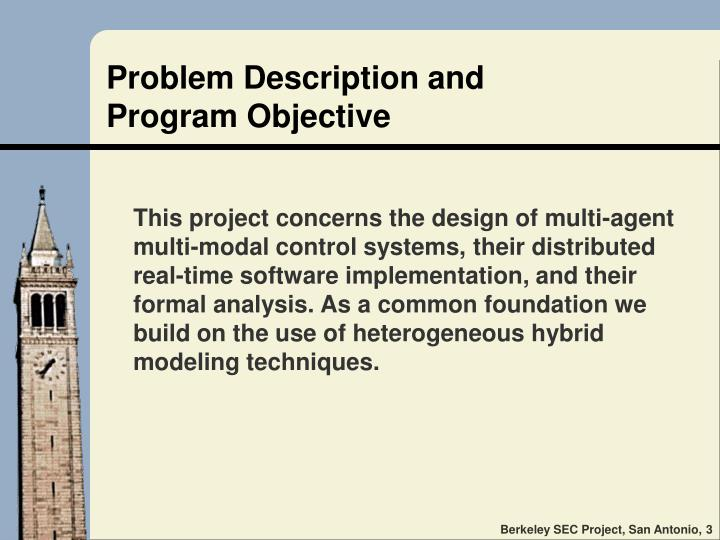 Problem description and program objective