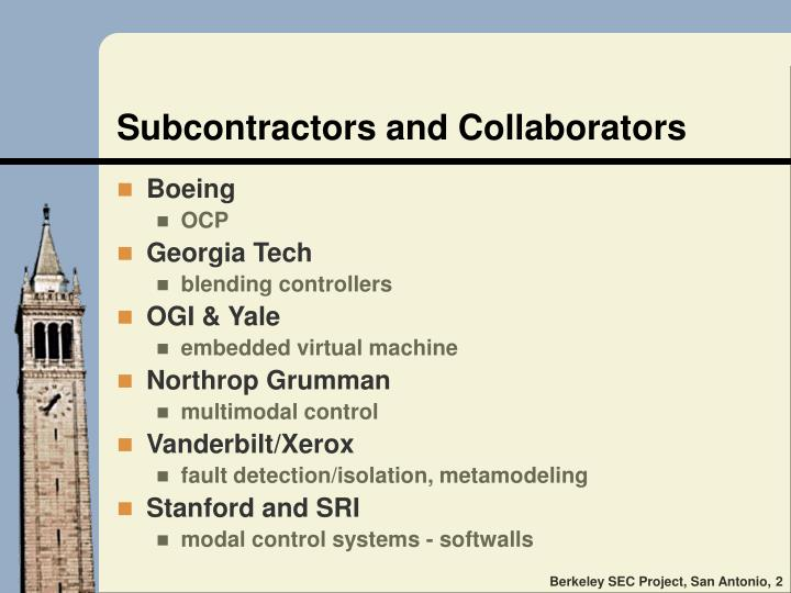 Subcontractors and collaborators