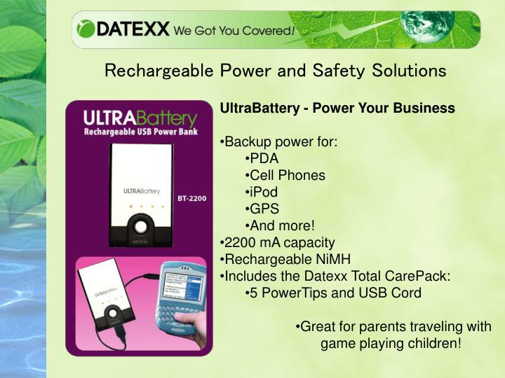Rechargeable power and safety solutions