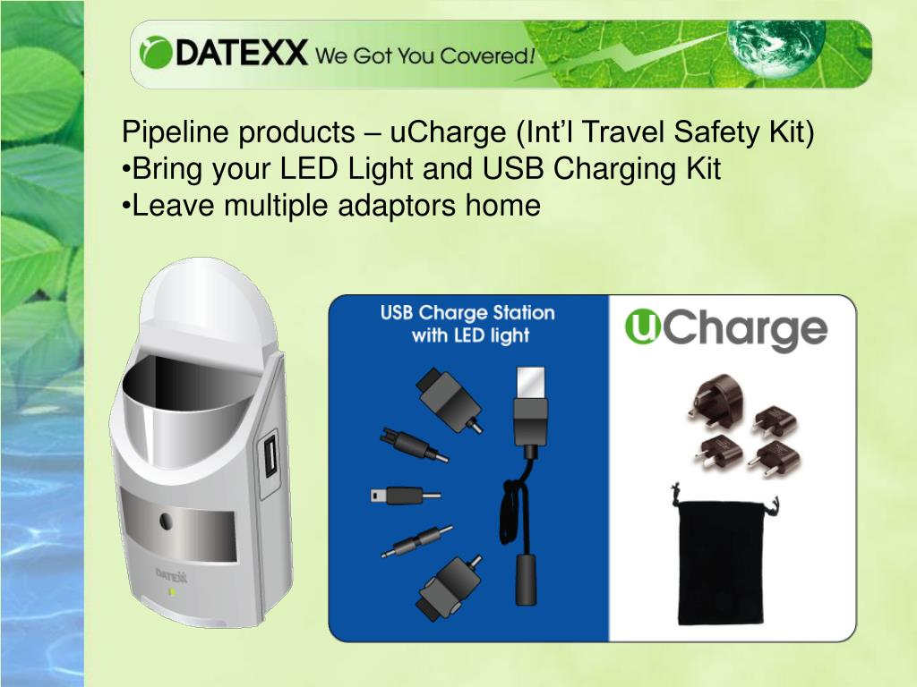 Pipeline products – uCharge (Int'l Travel Safety Kit)