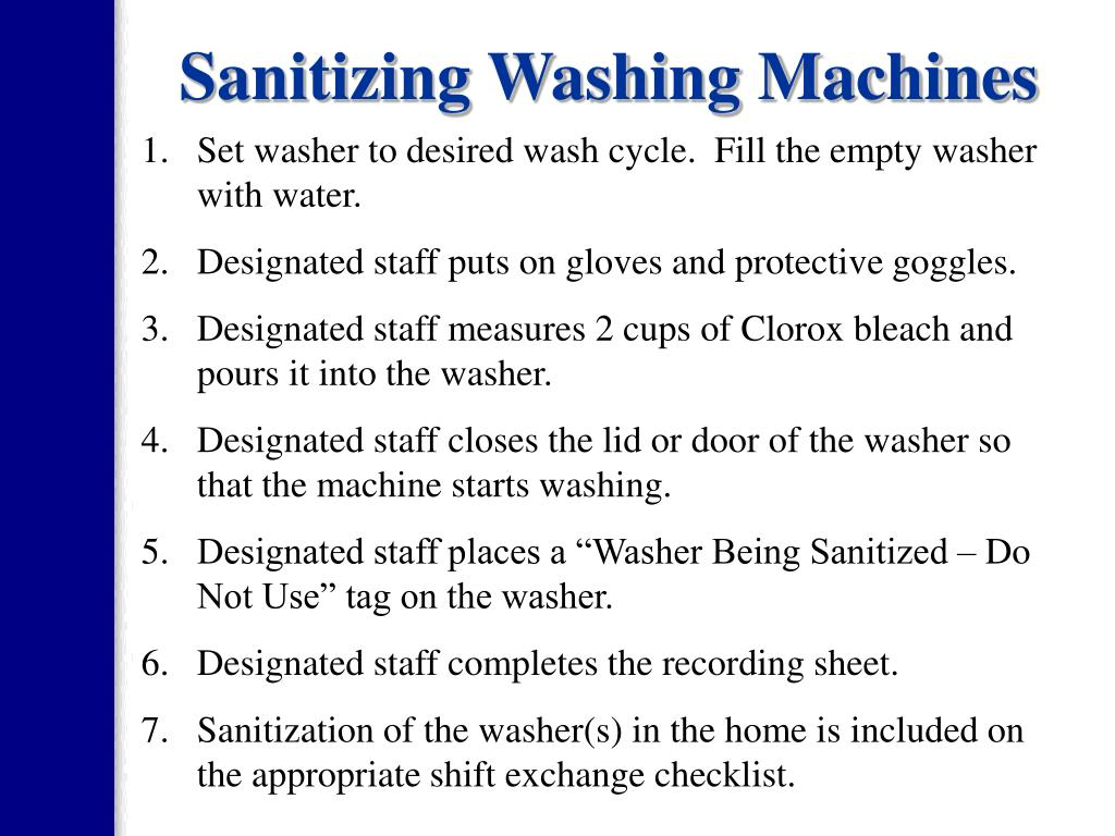 sanitizing a washing machine