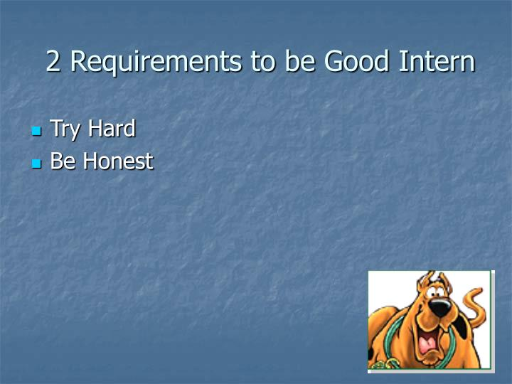 2 requirements to be good intern