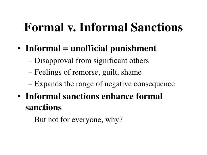 Formal v. Informal Sanctions