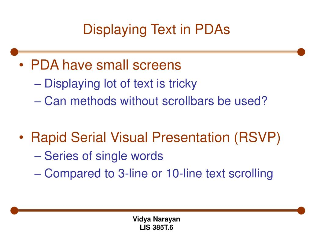 Displaying Text in PDAs
