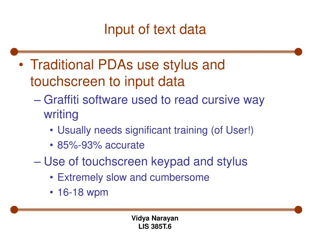 Input of text data