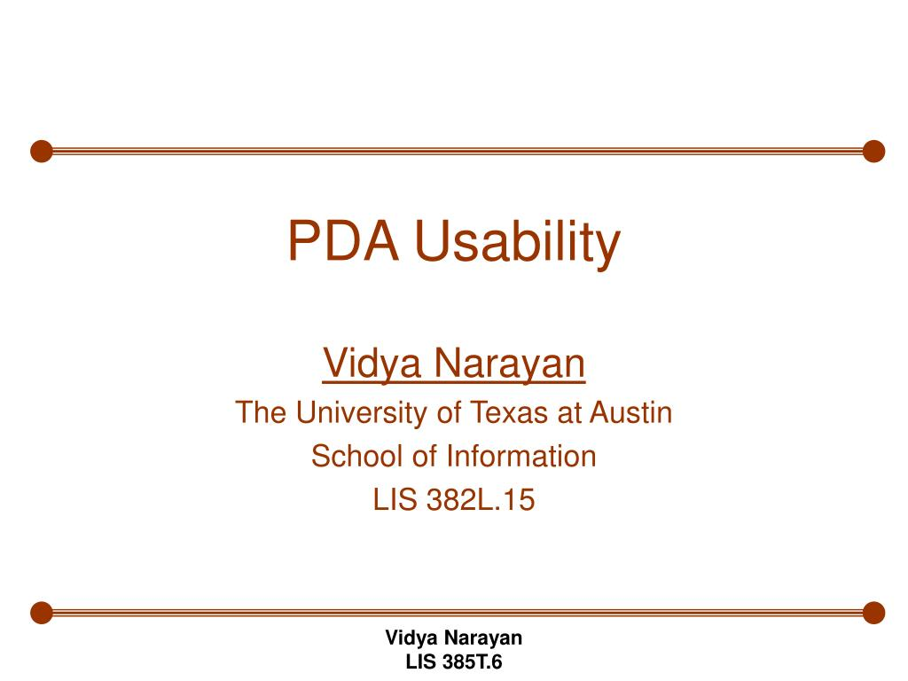 PDA Usability