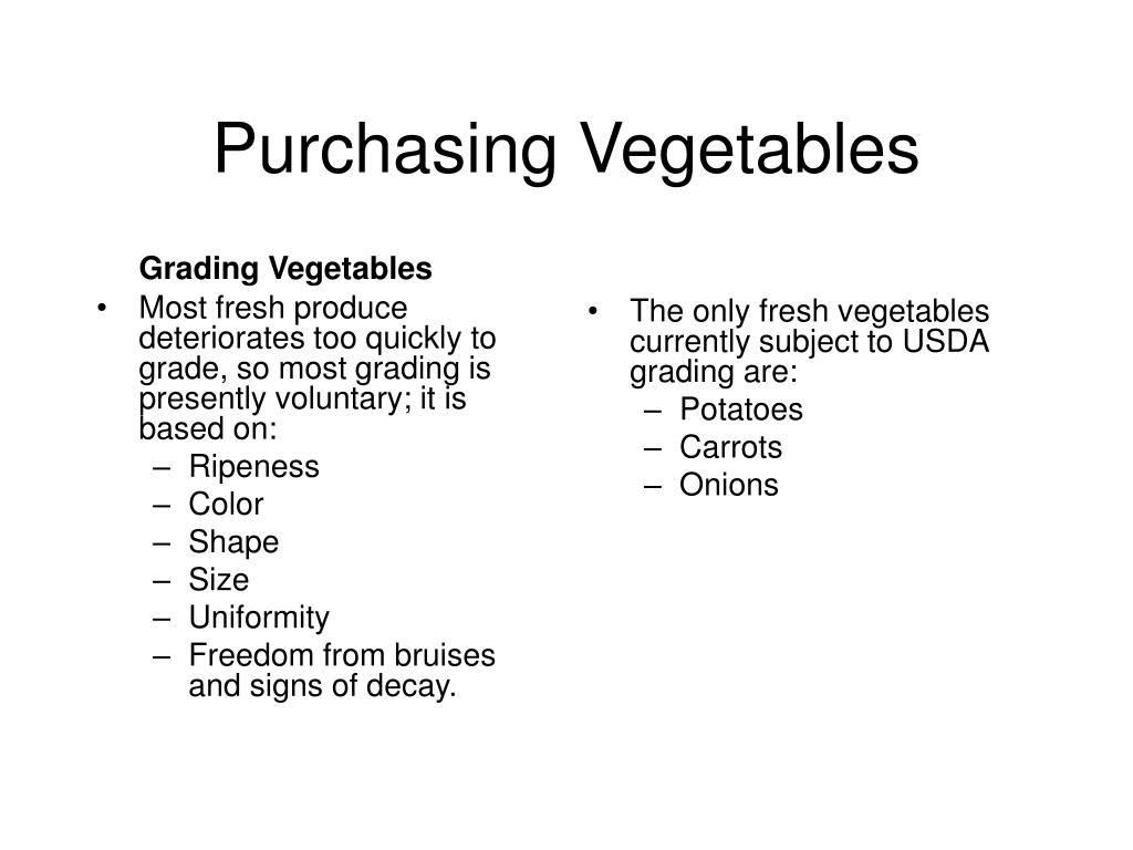 Grading Vegetables