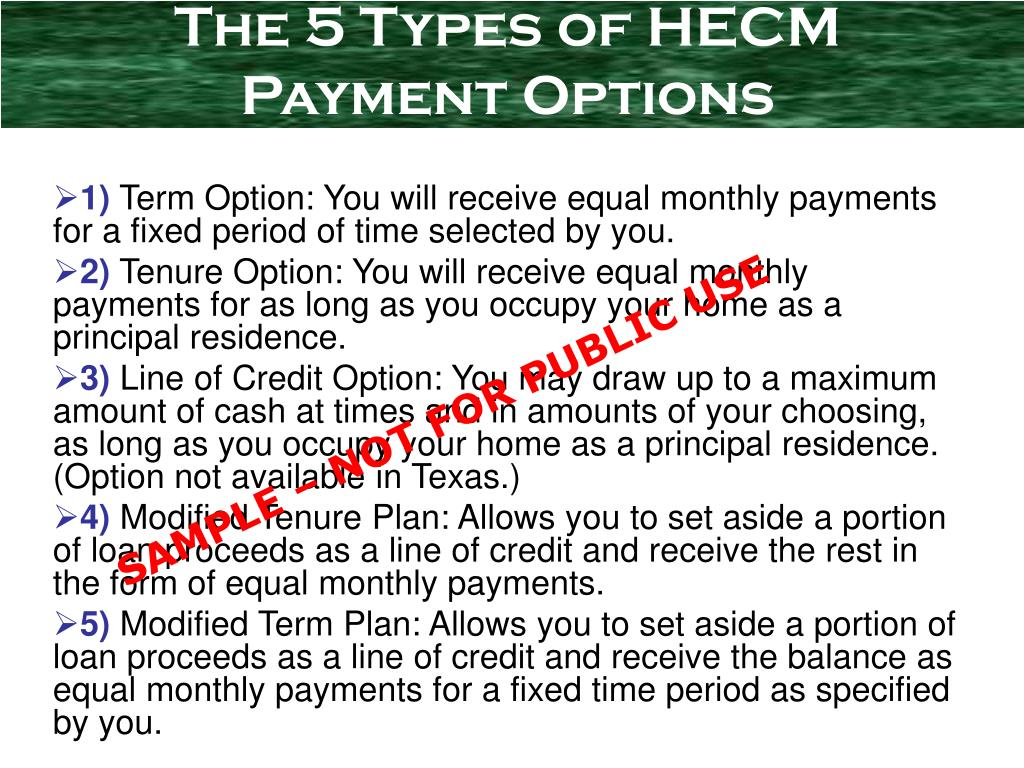 The 5 Types of HECM Payment Options