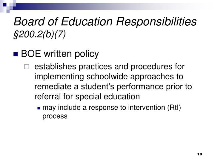 Board of Education Responsibilities