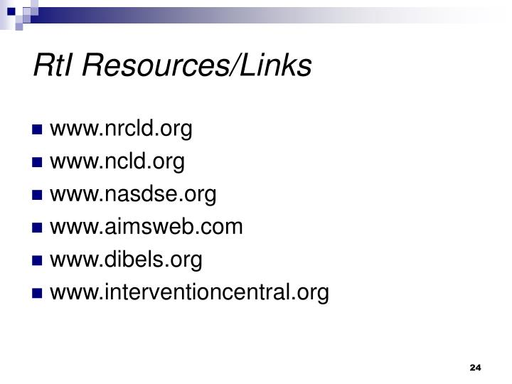 RtI Resources/Links