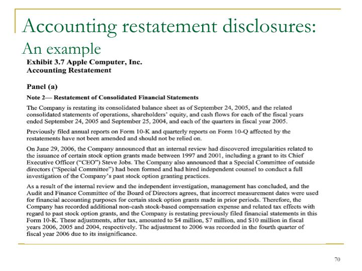 Accounting restatement disclosures: