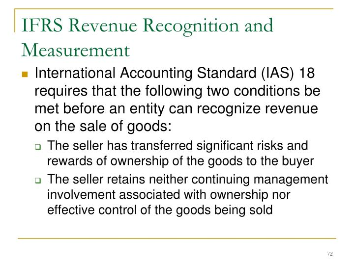 IFRS Revenue Recognition and Measurement