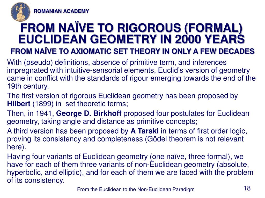 FROM NAÏVE TO RIGOROUS (FORMAL) EUCLIDEAN GEOMETRY IN 2000 YEARS