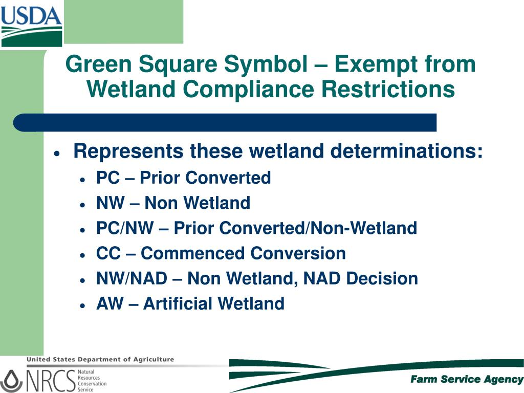 Green Square Symbol – Exempt from Wetland Compliance Restrictions