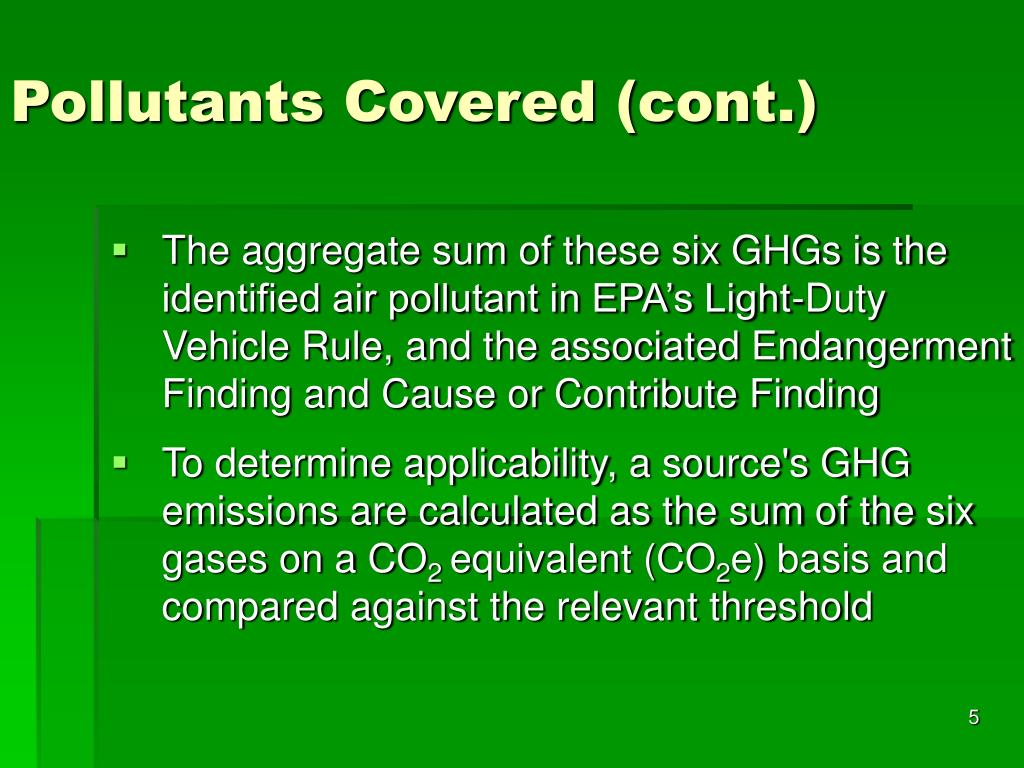 Pollutants Covered (cont.)