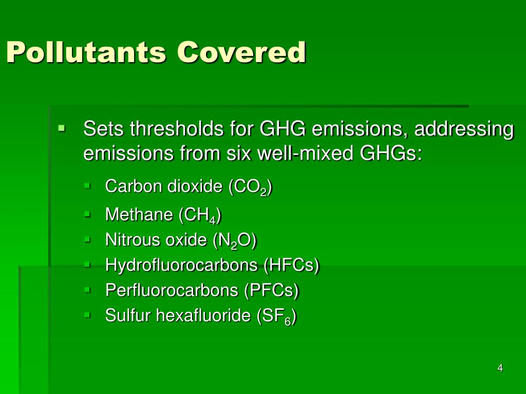Pollutants Covered