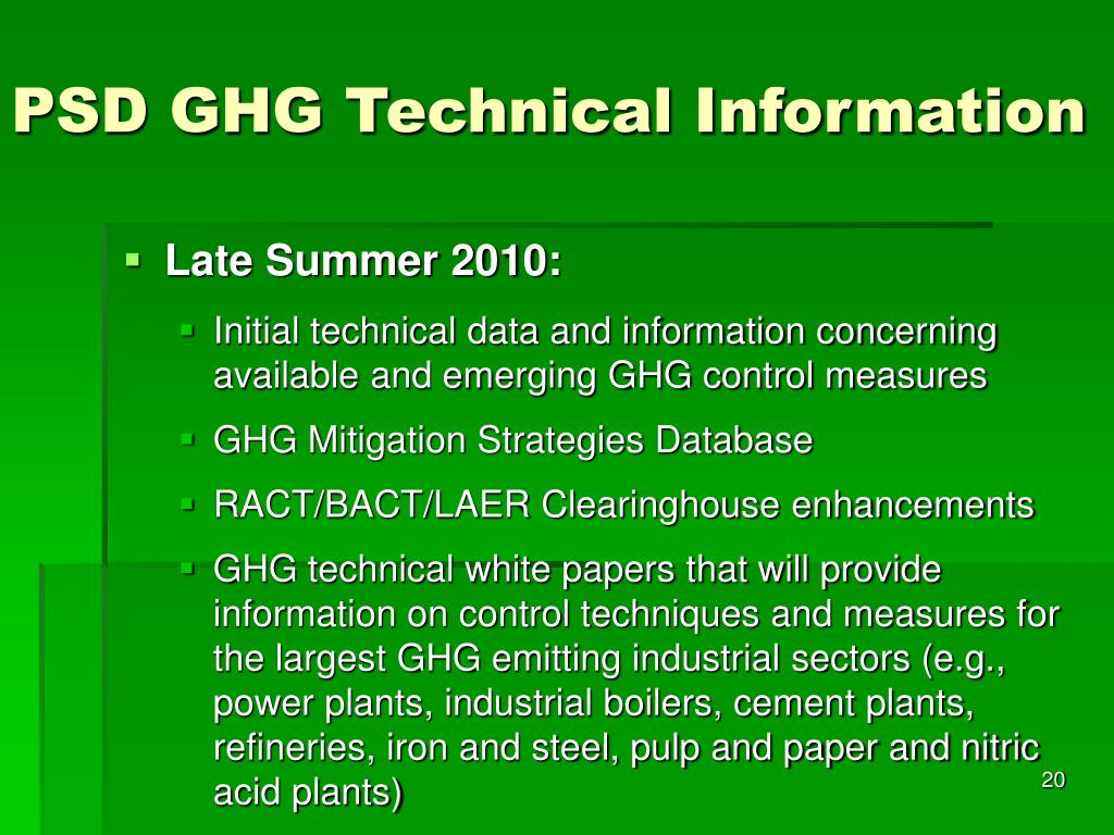 PSD GHG Technical Information
