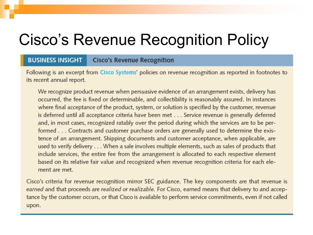 Cisco's Revenue Recognition Policy
