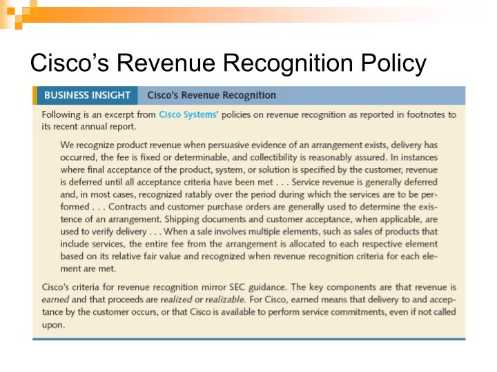 Cisco s revenue recognition policy