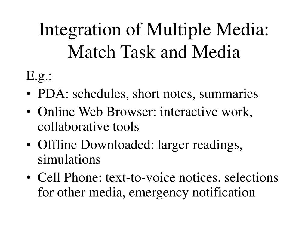 Integration of Multiple Media: Match Task and Media