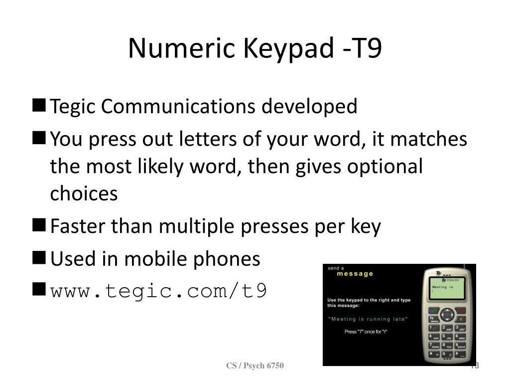 Numeric Keypad -T9