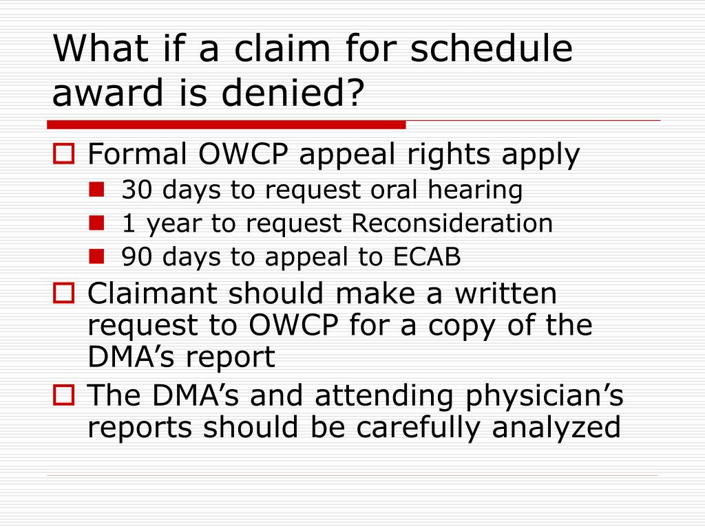 What if a claim for schedule award is denied?