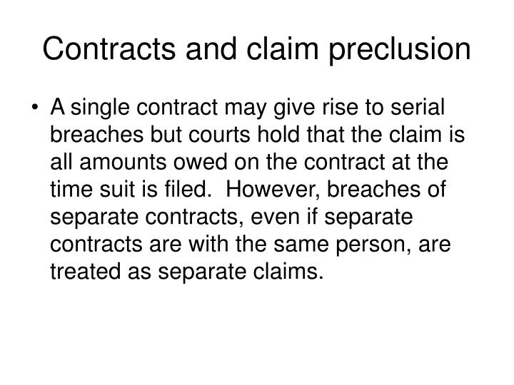 Contracts and claim preclusion