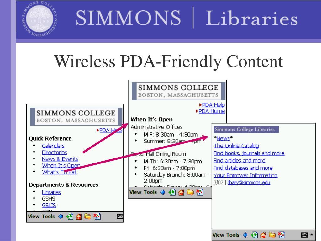 Wireless PDA-Friendly Content
