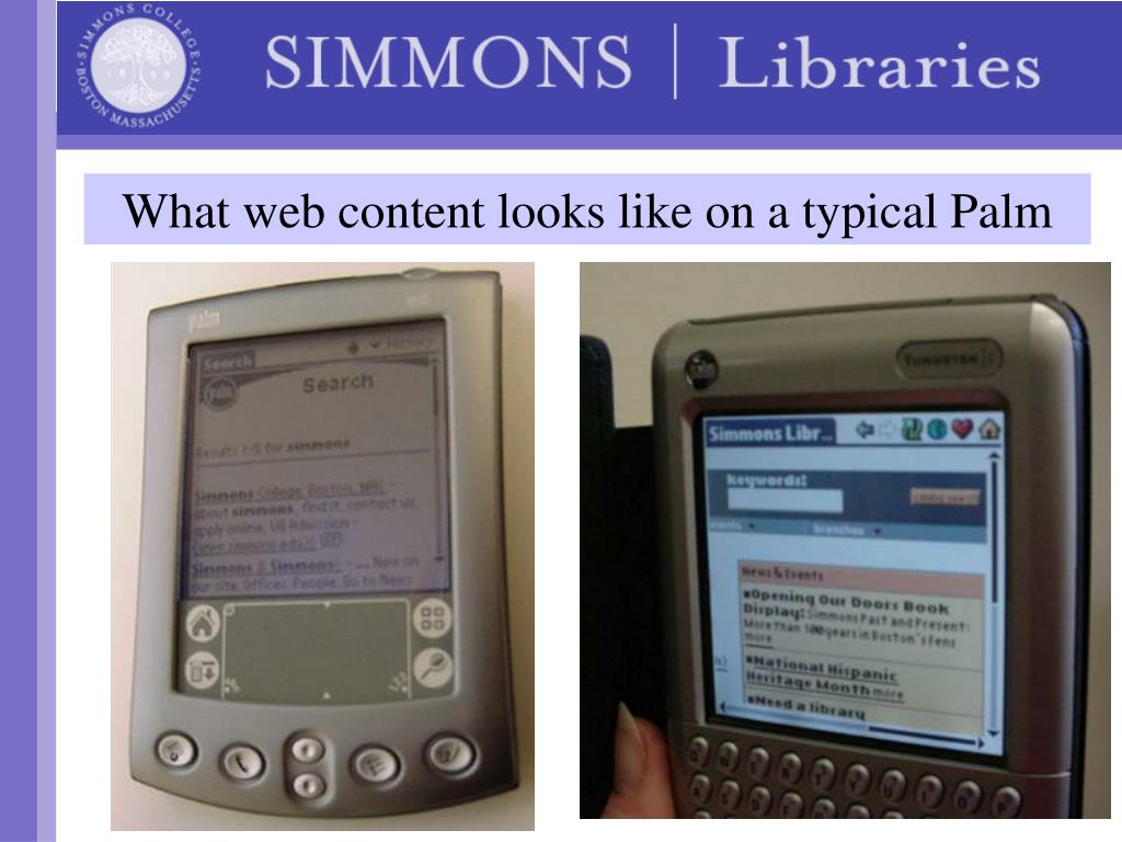 What web content looks like on a typical Palm