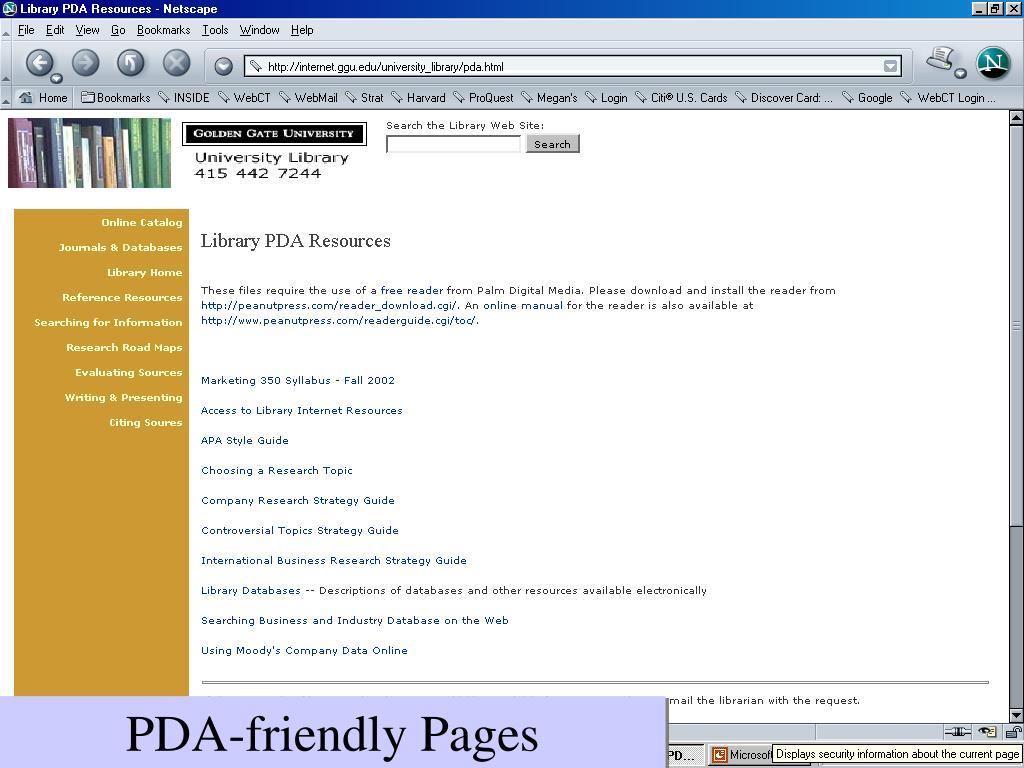 PDA-friendly Pages