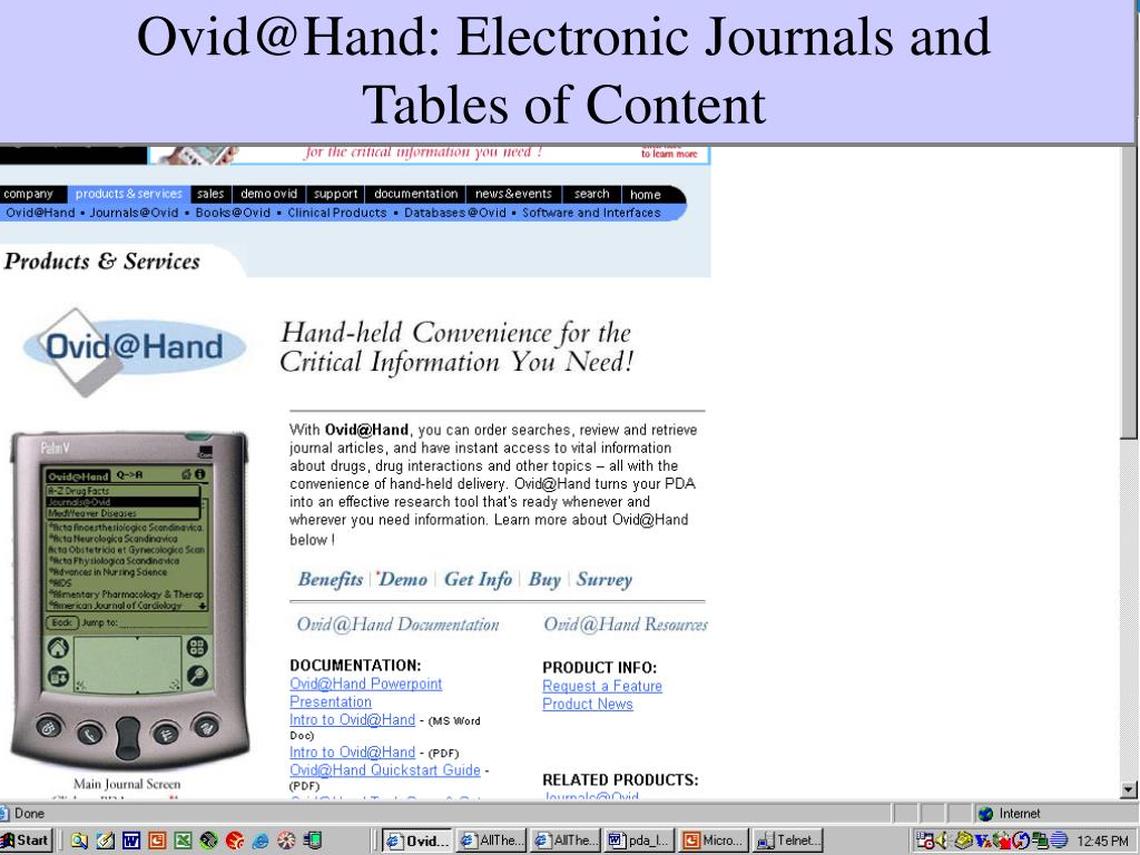 Ovid@Hand: Electronic Journals and