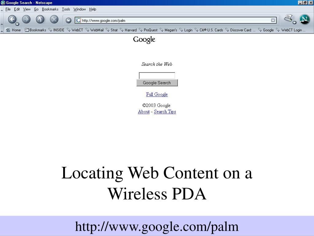 Locating Web Content on a Wireless PDA