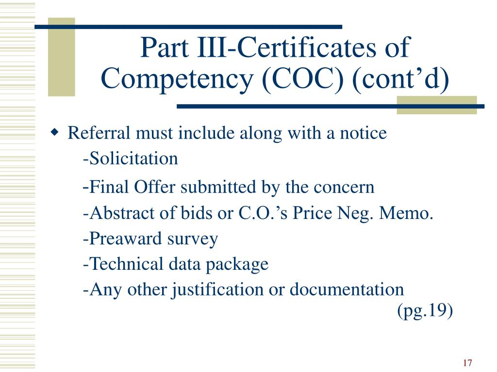 Part III-Certificates of Competency (COC) (cont'd)