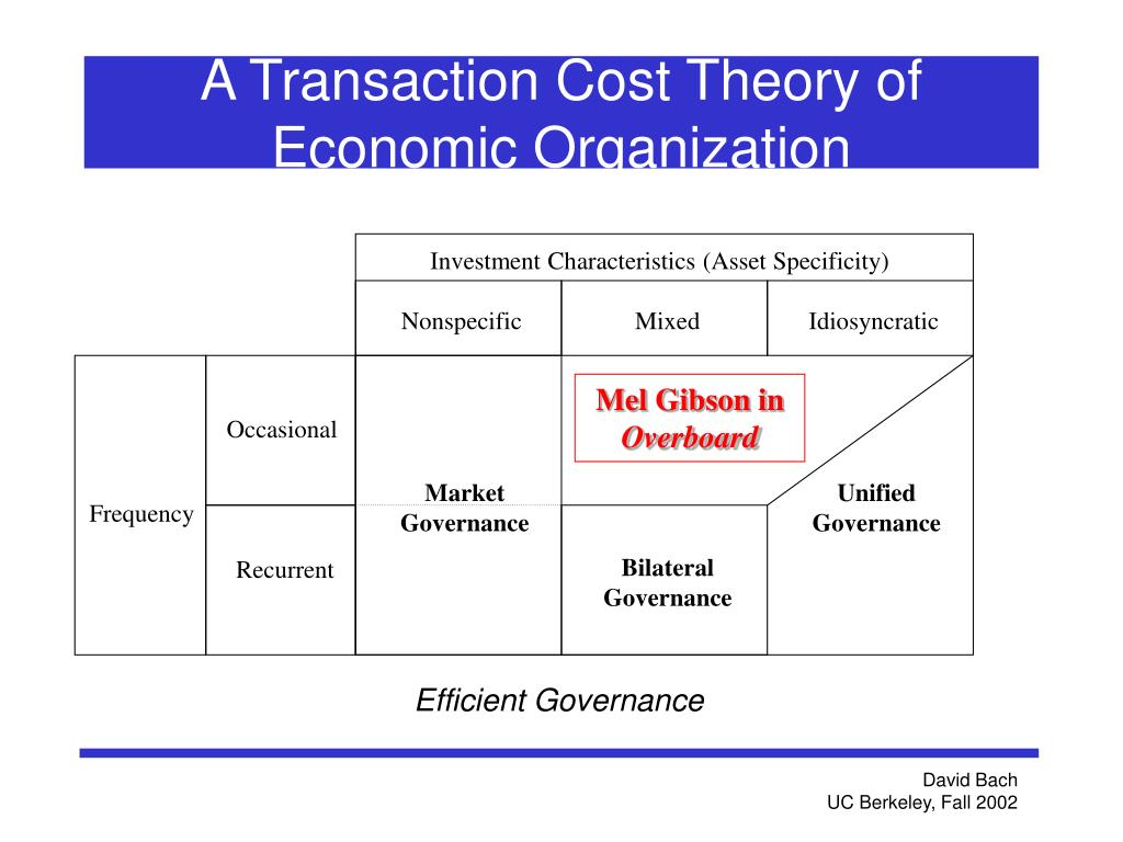 A Transaction Cost Theory of Economic Organization
