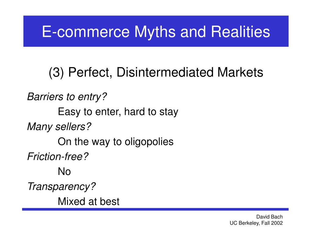 E-commerce Myths and Realities