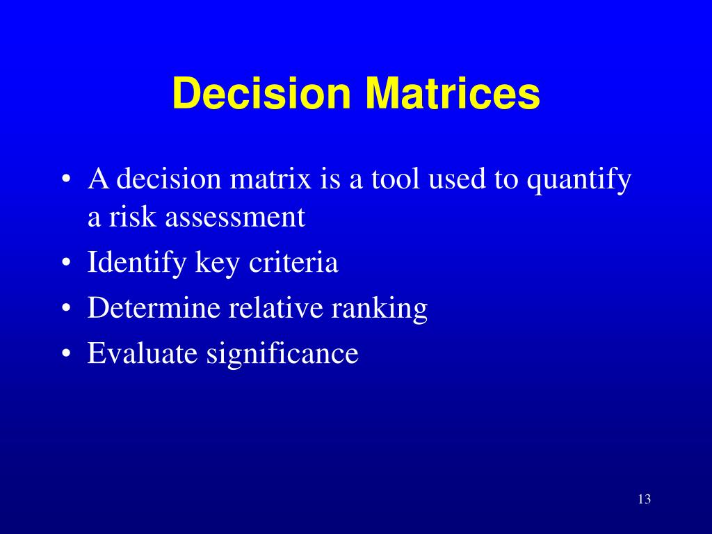 Decision Matrices