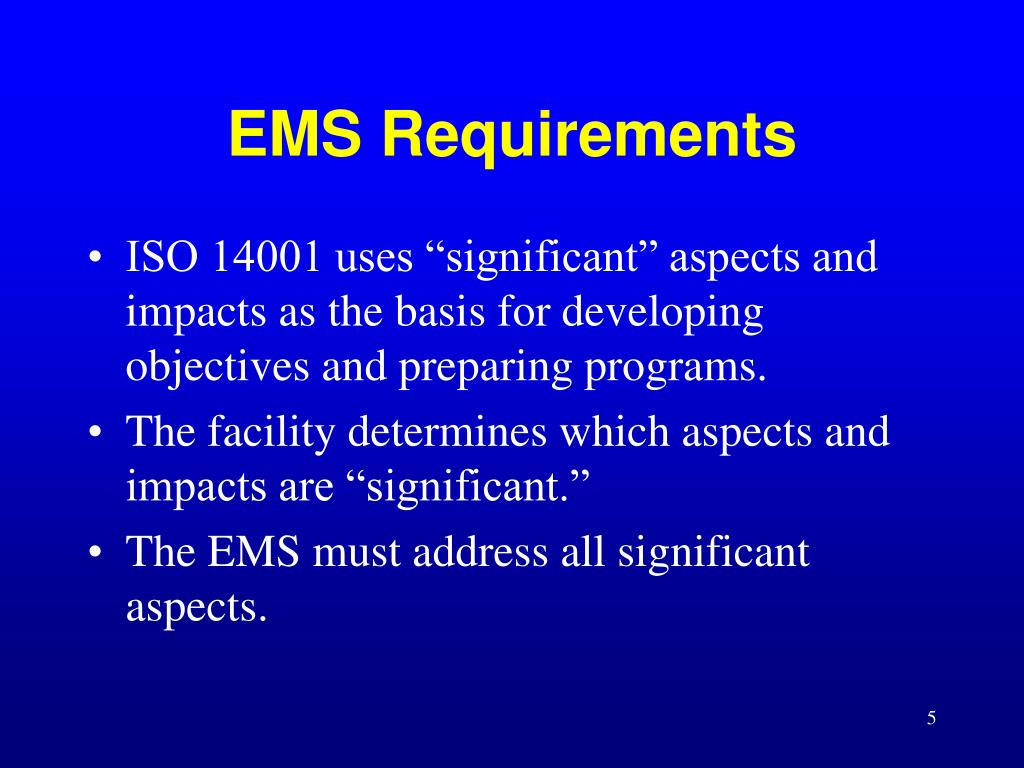 EMS Requirements