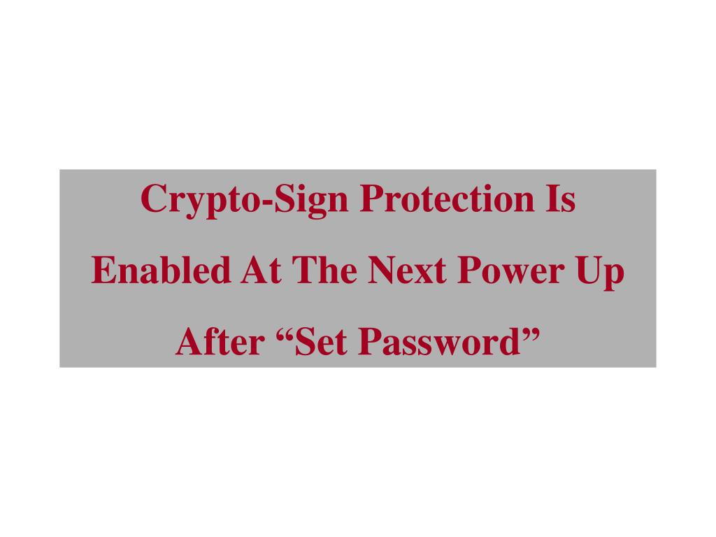 Crypto-Sign Protection Is