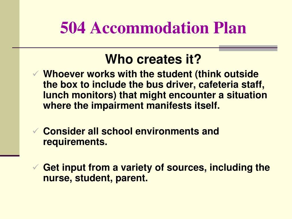 504 Accommodation Plan