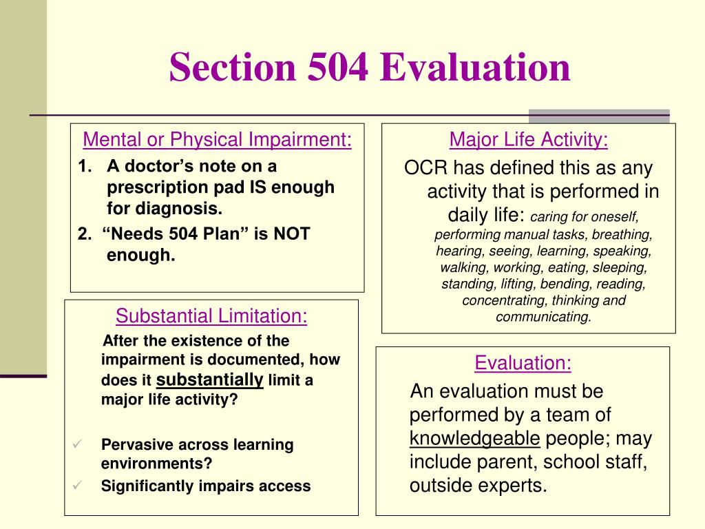 Section 504 Evaluation