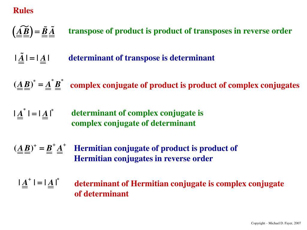 determinant of transpose is determinant