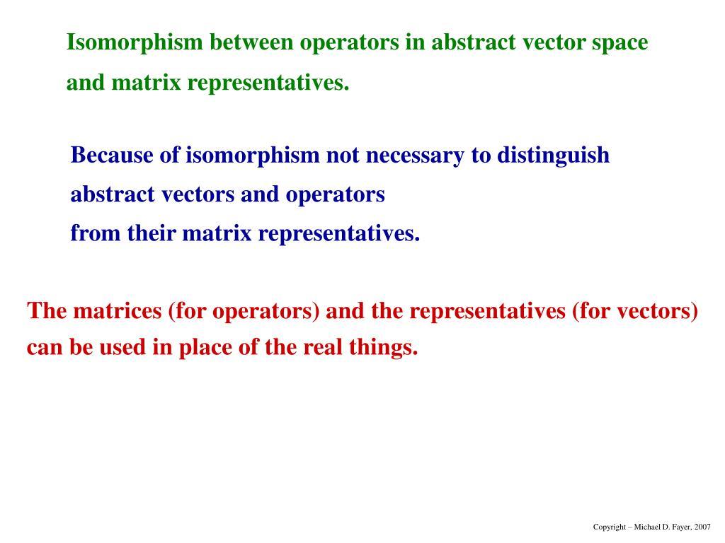 Isomorphism between operators in abstract vector space