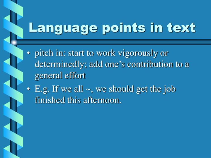 Language points in text