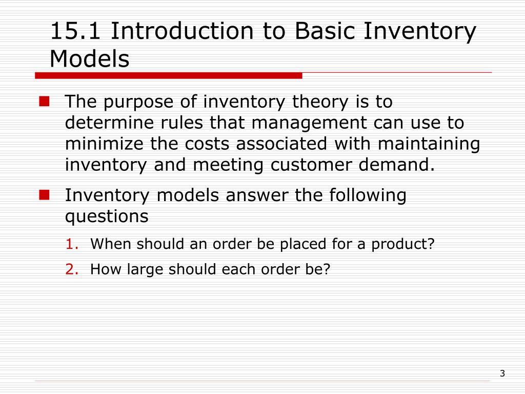 purpose of inventory