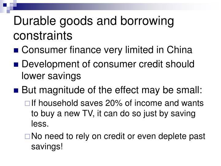 Durable goods and borrowing constraints