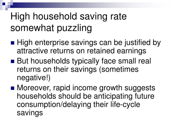 High household saving rate somewhat puzzling